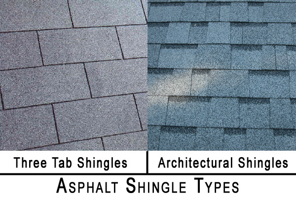 three tab and architectural asphalt shingle samples