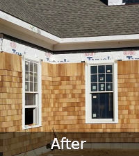 After cedar shake siding repair | Long Island NY | Sunrise Roofing & Chimney