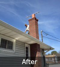 Complete brick chimney rebuild by Sunrise Roofing and Chimney in Western Long Island