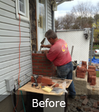 Brick chimney rebuild by Sunrise Roofing and Chimney in Hicksville NY