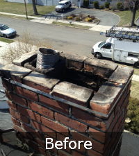 chimney-crown-project-before - Sunrise Roofing and Chimney